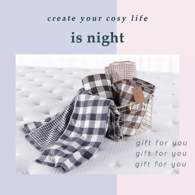 晚安奈特-質感舒適格紋純棉毯-首圖